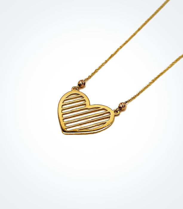 Love Shutters heart necklace with rose gold ball beads