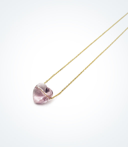 Glass stone Pink Heart necklace