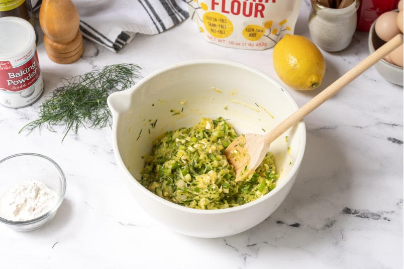 All ingredients are combined well in a large mixing bowl.