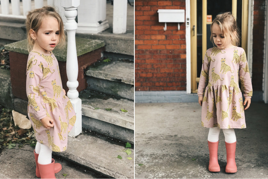 Diptych of daughter wearing Sien Dress