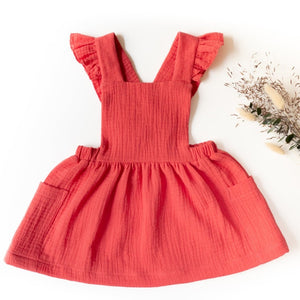 Ikatee Milano dress with ruffled straps in red double gauze