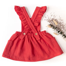 back of Ikatee Milano dress with ruffled straps in red double gauze