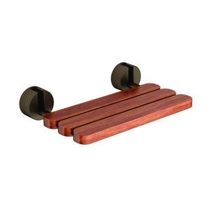 Mr Steam - In-Shower Wall Mount Teakwood Tilt-up Seat in Brushed Nickel Brackets