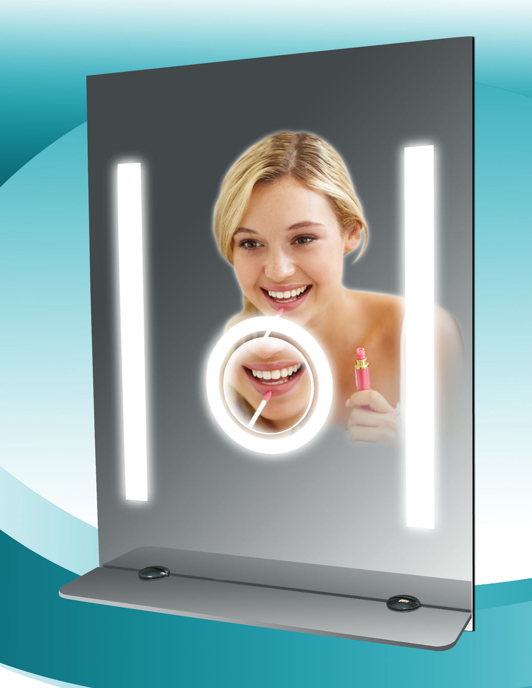 Fog Free Bathroom Tall Mirror with Glass Shelf by SteamSpa