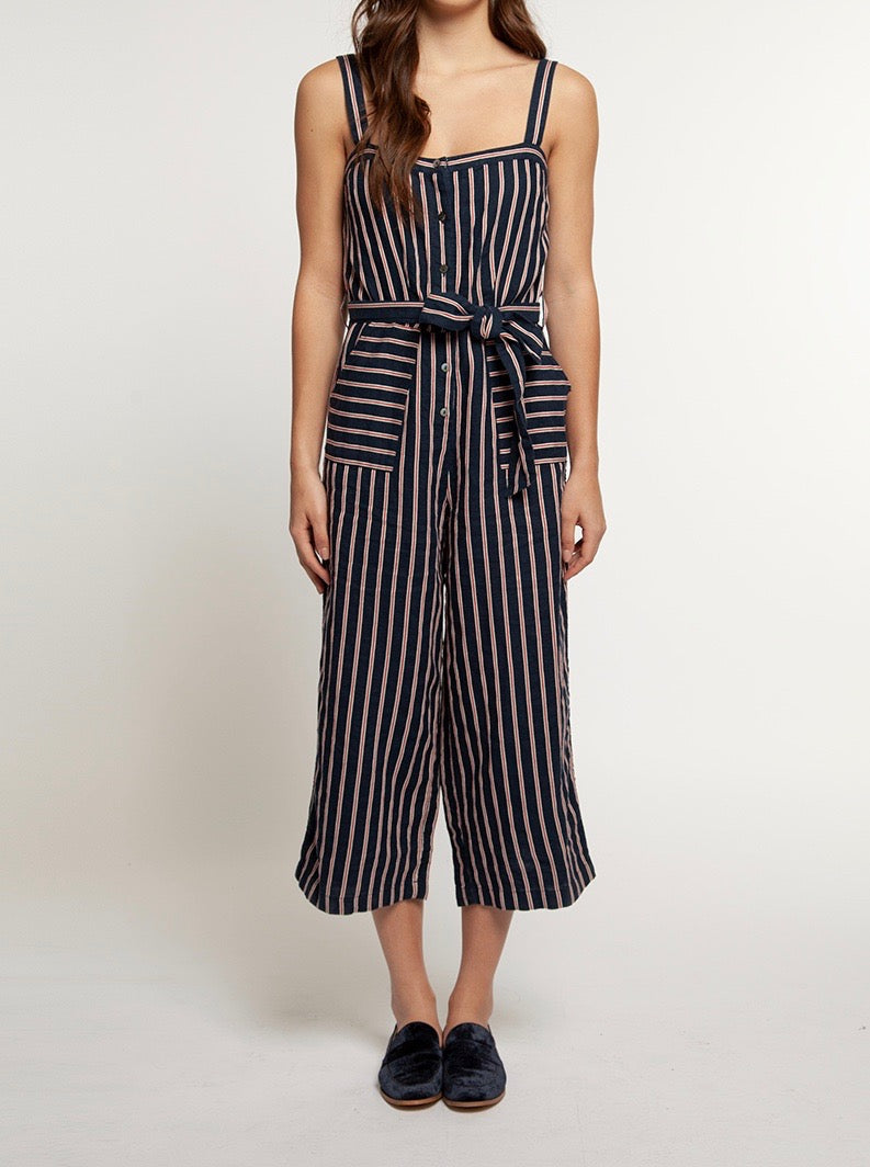 Dex Navy/Red Stripe Jumpsuit