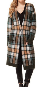 DEX Plaid Button Closure Long Cardigan Sweater