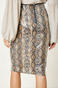 HLA Sequined Snakeskin Pencil Skirt