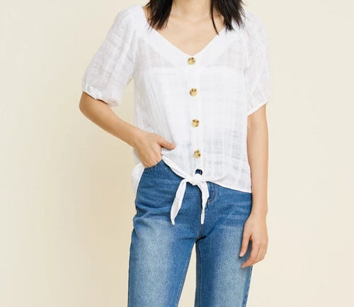 HLA Button Down Tie Front Top