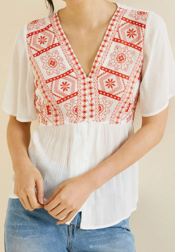 HLA Embroidered Button Down Peplum Top