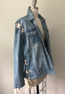 Listicle Lace Up Denim Jacket