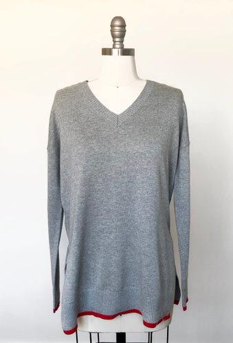 RD Grey V-Neck Sweater with Color Detail