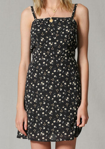 BT Black Floral Back Tie Dress