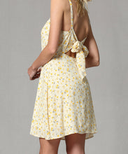BT Yellow Floral Back Tie Dress