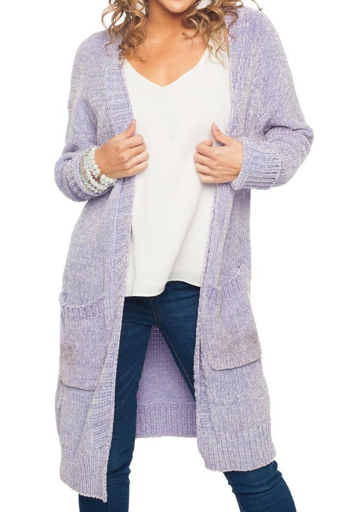 BL Periwinkle Chenille Open Sweater
