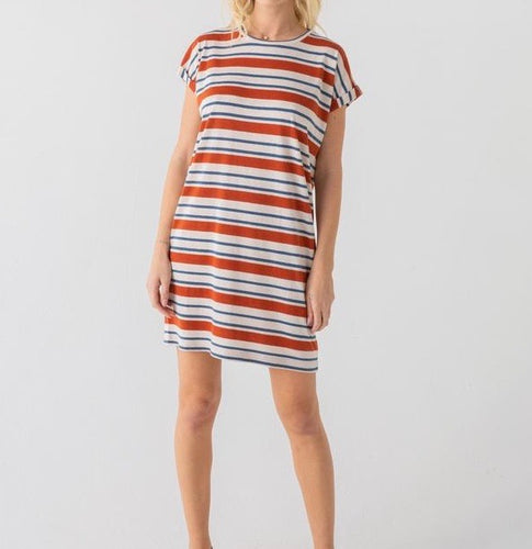 T&S Burnt Orange/Teal Striped T-Shirt Dress