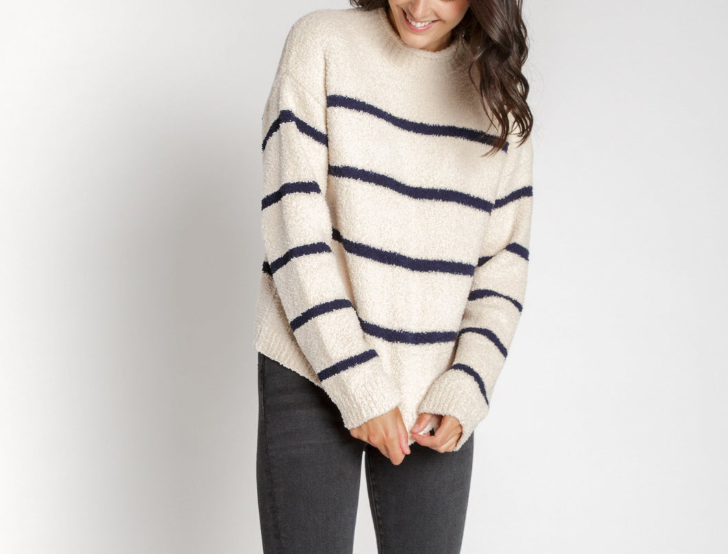 T&S Teddy Knit Striped Sweater