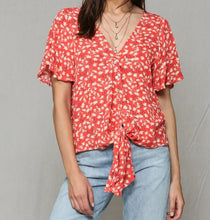 BT Coral Printed Buttoned Tie Front Top
