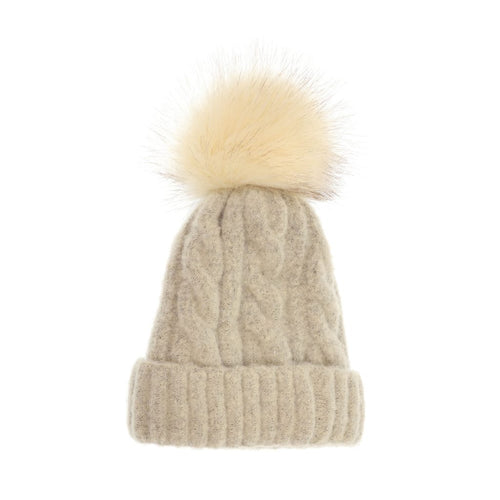 Joy Soft Cable Knit Pom Pom Winter Hat