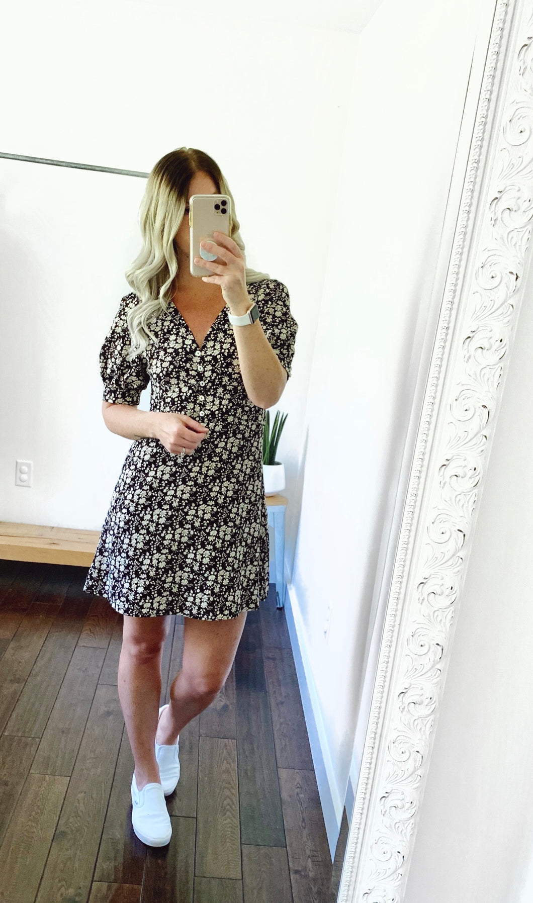 WL Puff Sleeve Black Floral Mini Dress