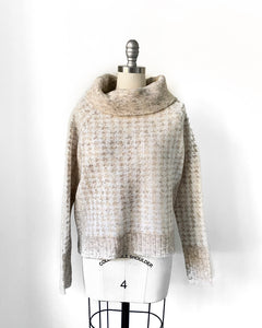 RD Houndstooth Cowl Neck Sweater
