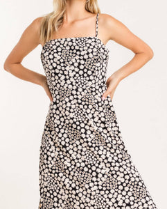Black Daisy Printed Midi Dress