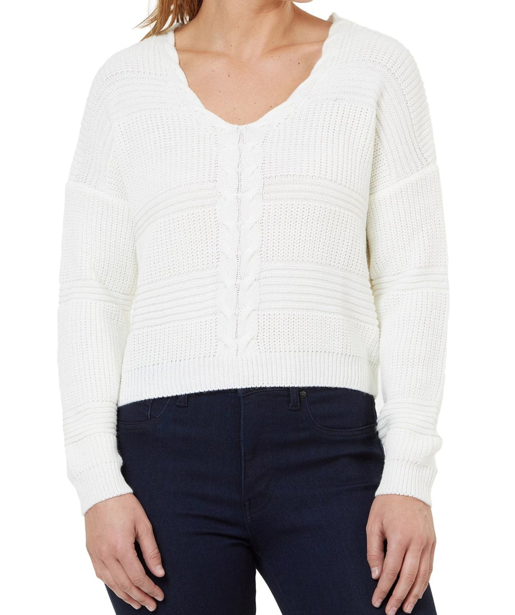 Numero Lace Up Cream Cropped Sweater