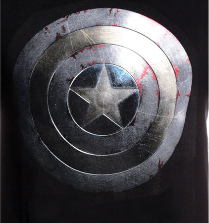 T-shirt Captain America Marvel - Captain Shield Silver - MOVIESTORE