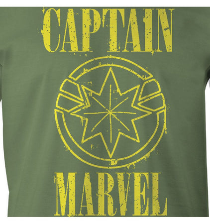 T-shirt Captain Marvel Marvel - Yellow Logo - MOVIESTORE