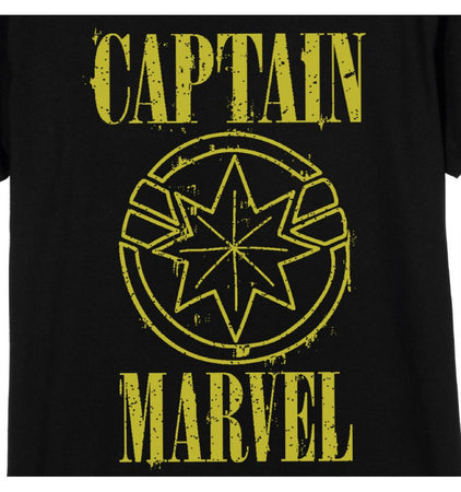 T-shirt Femme Captain Marvel - Captain Marvel Yellow Logo - MOVIESTORE