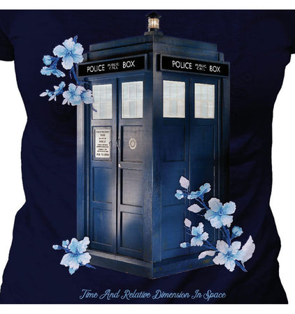 T-shirt Femme Dr Who - Flowered Tardis - MOVIESTORE