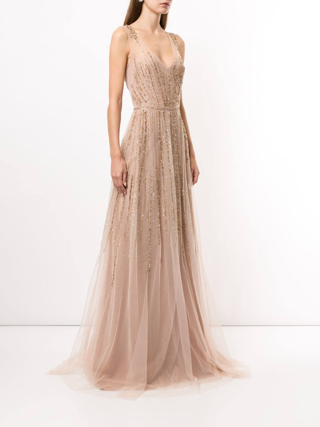 Sleeveless Fully Beaded Gown
