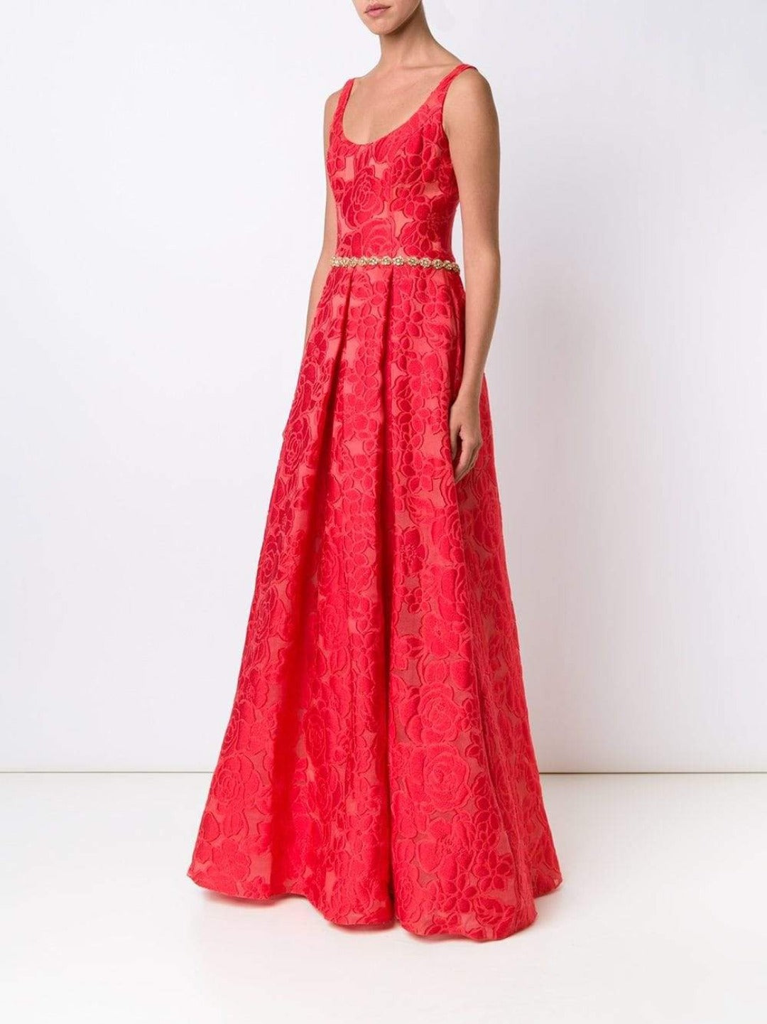 brocade a-line gown