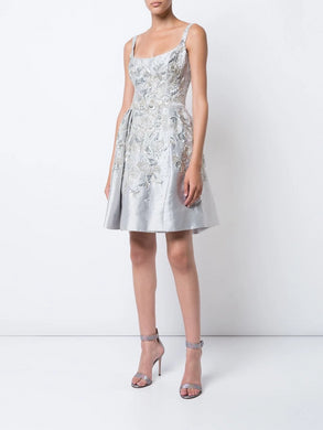 Silver flared cocktail dress