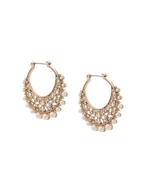 Pearl Embellished Cut-out Hoop Earrings