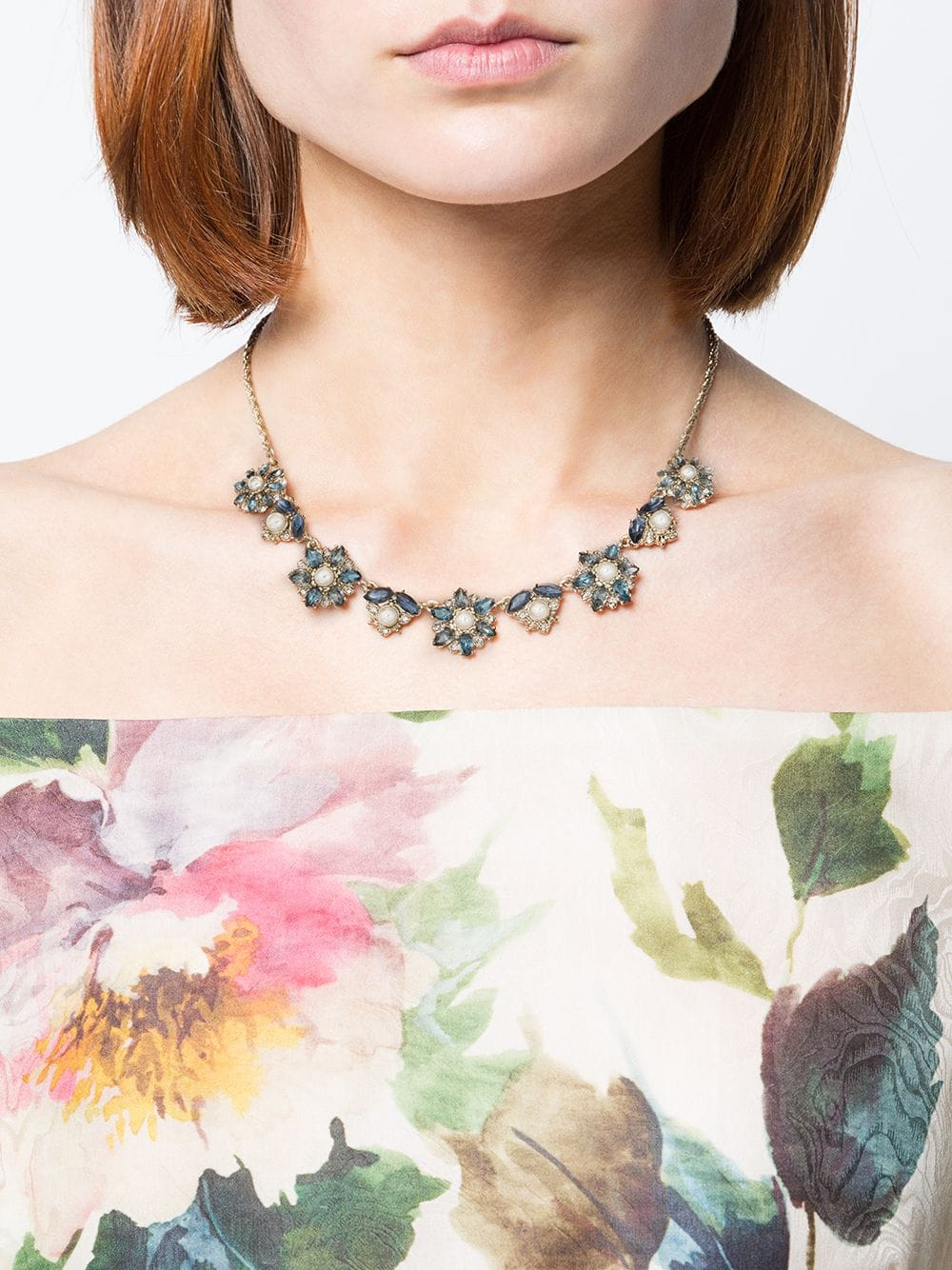 Navy Crystal-Embellished Flower Necklace
