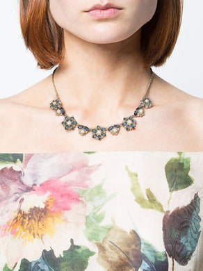 Navy Crystal Embellished Flower Necklace