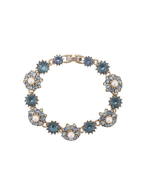 Navy Crystal Embellished Flower Bracelet