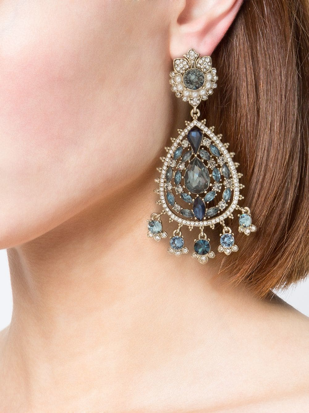 Navy Crystal-Embellished Chandelier Earrings