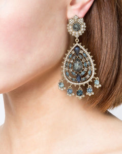 Load image into Gallery viewer, Navy Crystal Embellished Chandelier Earrings