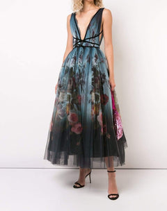 Load image into Gallery viewer, floral tea length dress