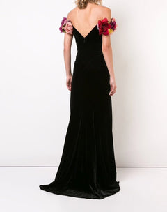 Load image into Gallery viewer, Velvet Off Shoulder Gown