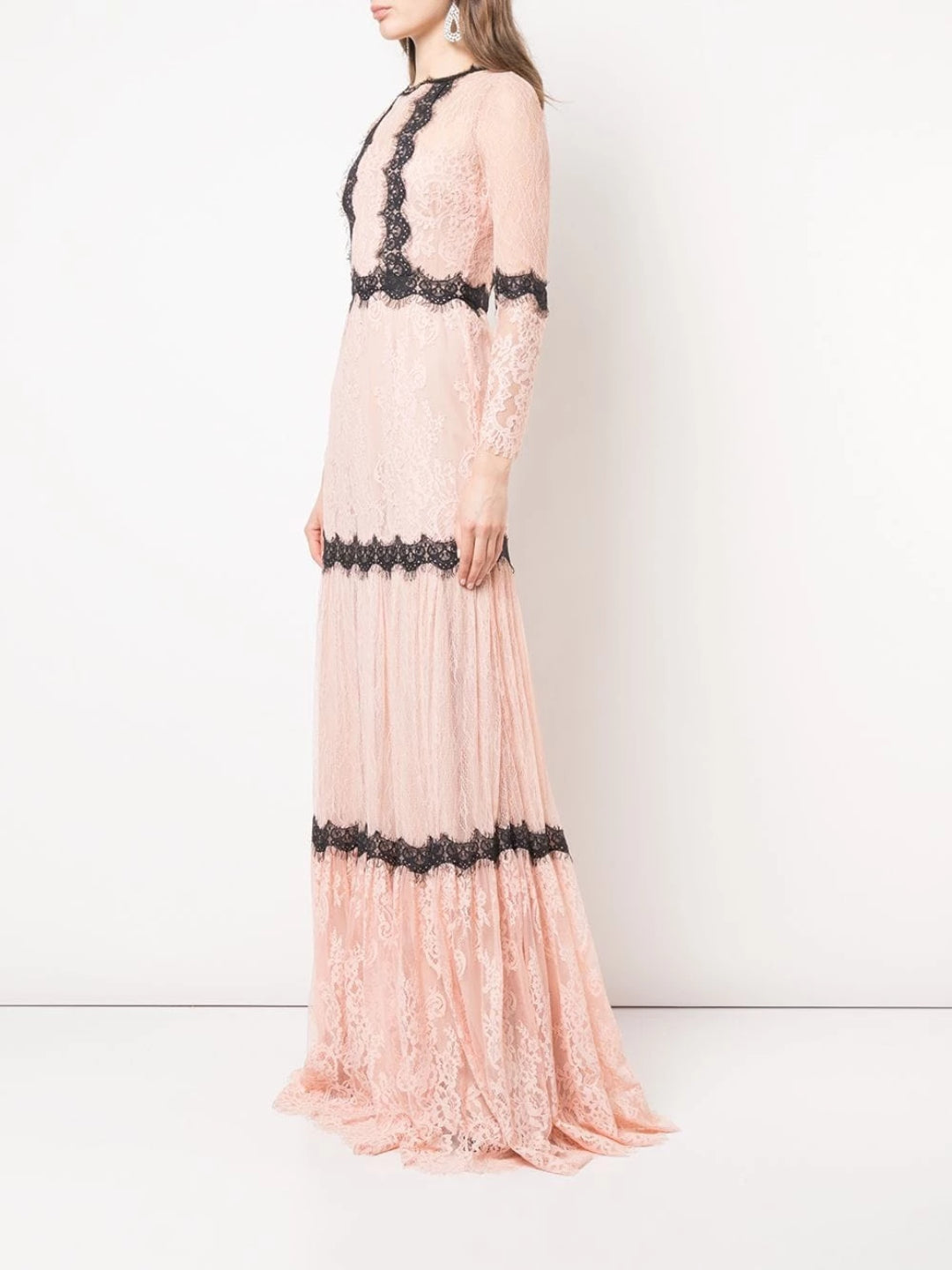 Long Sleeve Lace Gown In Blush
