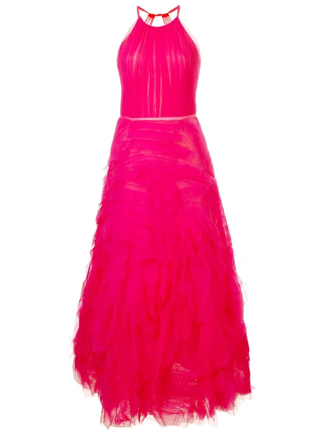 Sleeveless Tulle Tea-length Gown