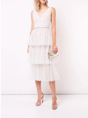 Sleeveless V-neck Tulle Tea-Length Dress