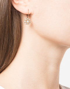 Load image into Gallery viewer, Yellow Gold Floral Diamond Drop Earrings