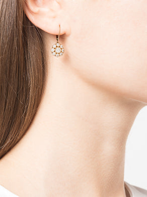 Yellow Gold Floral Diamond Drop Earrings