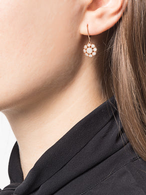 Rose Gold Floral Diamond Drop Earrings