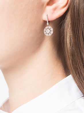 White Gold Floral Diamond Earrings
