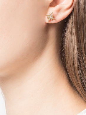 Yellow Gold Diamond Star Earrings