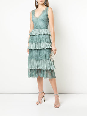Pleated Shimmer Lame Tea-length